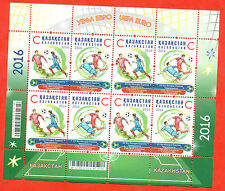 Kazakhstan 2016.Small sheet. Football. UEFA Championship. France.