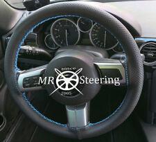 FITS MAZDA MX5 MK3 MIATA PERFORATED LEATHER STEERING WHEEL COVER SKY BLUE STITCH
