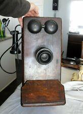 Vintage Oak Wood Cabinet 317 -N-P-R-S hand crank wall phone western electric