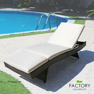 Pool Side Porch Chaise Lounge Chair Outdoor Patio Sun Bed Rattan Furniture