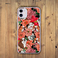 English Bulldog with flower cover Case for Apple iPhone  6 7 8 plus X XS  XR 11