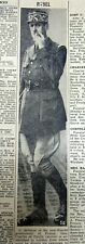 1940 Ww Ii newspaper wEarly Photo Charles De Gaulle as leader Free French forces