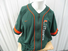 VINTAGE NIKE UM MIAMI HURRICANES XL ZIP-UP SEWN BASEBALL GREEN JERSEY PREOWNED