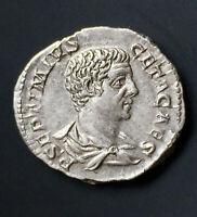 XF Emperor Geta AR Denarius -  RARE reverse MINERVA PACIFERA