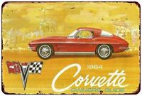 "1964 Chevy Corvette Sales Owners Guide Vintage Retro Metal Sign 8"" x 12"""