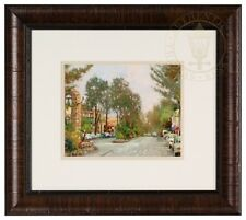 Carmel, Ocean Ave II 8 x 10 Framed Matted Print Hand Signed by Thomas Kinkade