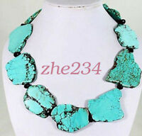Shining Crystal Turquoise Slice Handmade Princess Necklace Woman Gift Party @