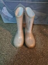 George Girls Silver Sparkly Wellies Boots Infant Size 8
