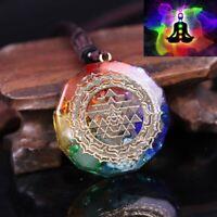 7 Chakra Natural Stone Sri Yantra Reiki Pendant Necklace Healing Amulet Women