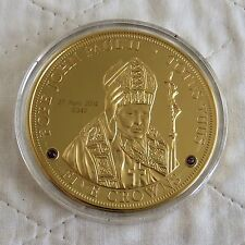 2014 TDC POPE JOHN PAUL II SUPERSIZE 65mm 5 CROWN 24 CARAT GOLD PLATED PROOF