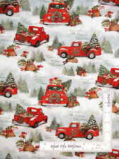 Christmas Home Red Truck Puppy Scenic Cotton Fabric Springs CP69123 By The Yard
