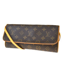 Auth LOUIS VUITTON Pochette Twin GM Shoulder Bag Monogram Leather M51852 83MD859