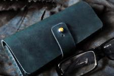 men women Eyeglass Cases sunglasses bag holder cow Leather Customize blue z324