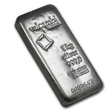 Kilo Kilogram 32.15 oz Silver Valcambi Cast Bar with Assay Card