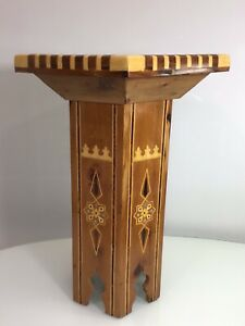 Vintage Neiman Marcus 1997 Moroccan Wood Hexagon table Mother of Pearl Inlay