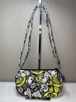 Vera Bradley Frannie Gray White Yellow/green Floral Crossbody Bag Citron NWOT