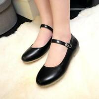 Sweet Ladies Girls Buckle Mary Janes Round toe Strap Ballet Flats Casual Plus Sz