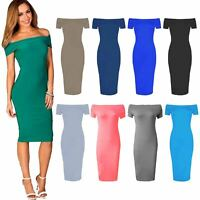Ladies Womens Short Sleeve Off The Shoulder Bardot Bodycon Midi Dress Plus Size