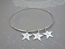 Personalised Silver Star Charm Bangle - Sterling Solid Hammered Bracelet Letter