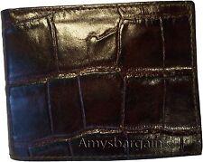New Crocodile Skin Printed Leather man's bi fold wallet 2 billfolds 6 card ID BN