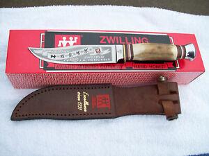 J.A. Henckels Germany Fixed Knife HK-20 Awesome Stag Handle w Leather Sheath NIB