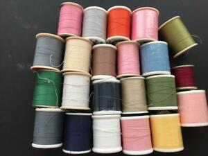 LOT 22 spools of thread pink white blue brown green crafts sewing