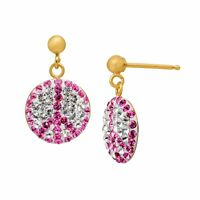 Crystaluxe Peace Drop Earrings with Swarovski Crystals in 14K Gold over Sterling