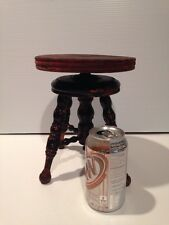 Antique Childs OR Doll Furniture WOOD Piano Stool Salesman Sample ADJUSTS  RARE
