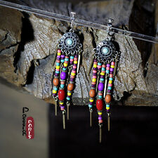 Boucles d`Oreilles Clip Pendante Ethnic Mini Perle Multicolore  Soirée Cadeau C1