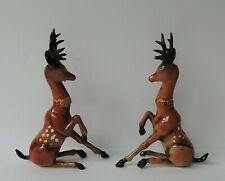 Rare Vintage Christmas Reindeer Deer Figures Hard Plastic Mid Century Modern