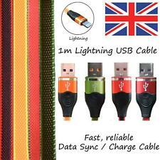 For iPhone 5 6 7 8 X XR 11 Lightning 1m Flat Cable Lead Sync, Data & Charging