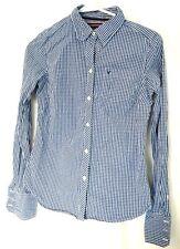 AMERICAN EAGLE WOMENS DRESS SHIRT Button Down Collar Blue Plaid LS Top Blouse AE