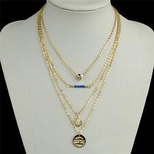 Frauen Herz blau Perlen vergoldet Kette Anhänger mehrschichtige Halskette 9U