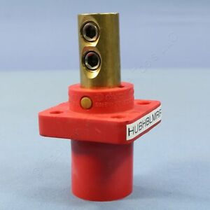 Hubbell 16 Series Red Male Receptacle Panel Mnt Dual Set Screw 400A Bulk HBLMRR