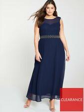 Little Mistress Curve Beaded Waist Bridesmaid Maxi Dress - Navy UK 20
