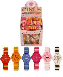 Mini Elastic Watch Kids Wooden Bracelet Children Educational Flower Wrist Time