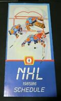 1985-86 Molson Official NHL Hockey Schedule - Very Nice Condition