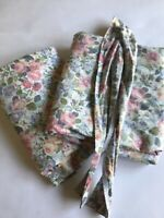 Laura Ashley Floral Curtains Drapes 40 x 86 Garden Set of 2 w Tiebacks Pink Blue