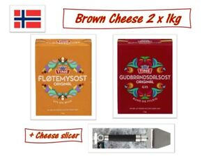 Norwegian Tine Brown Cheese Brunost Goat Cheese  2X1Kg Slicer Made in Norway