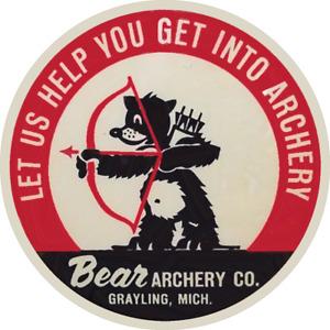 Vintage Logo Let Us Help You Get Into Archery Bear Archery Window Sticker Decal