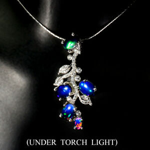 Oval Black Opal Rainbow Full Fash 7x5mm Cz 925 Sterling Silver Necklace 18 Ins