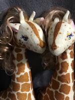 Lot Of Two Plush Giraffes W/lifelike Hair Realistic Nursery Room Decor Gift B53