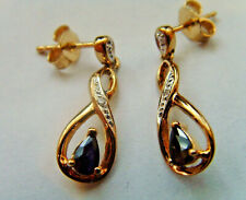 9ct Gold Sapphire & Diamond Drop Dangle Earrings With Butterfly Backs