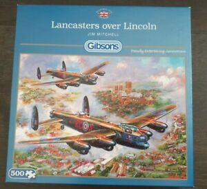 Gibsons 500 piece puzzle  LANCASTERS OVER LINCOLN by Jim Mitchell -100% Complete