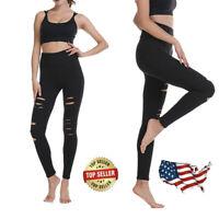 US Women High Waist Ripped Slit Split Leggings Gothic Pants Yoga Skinny Leggings