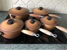 Genuine Le Creuset Five Pan Set Hazelnut Cast Iron Saucepans Pots With Lids