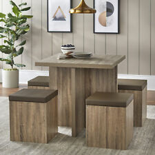 Modern Kitchen 5 Pc Dining Set Table Padded Storage Ottoman Stool Chairs Brown