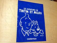 """EO SAC PUB BD de HERGÉ 1985 """"TINTIN et MILOU"""" 40x30cm plastique épais COLLECTOR"""