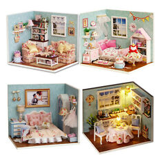 4pcs Dollhouse Miniature DIY Kit With Furniture+Cover Toy Dolls Room Happy Serie