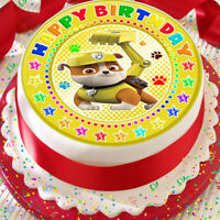 PAW PATROL RUBBLE HAPPY BIRTHDAY PRECUT EDIBLE 7.5 INCH BIRTHDAY CAKE TOPPER XP2